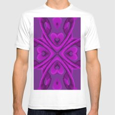 Hot Pink Hearts SMALL White Mens Fitted Tee