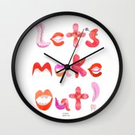 Wall Clock featuring Let's Make Out! by Janna Morton