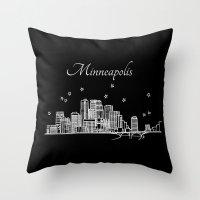 Minneapolis, Minnesota City Skyline  Throw Pillow