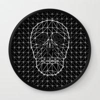 Triangle and Line Art Skull Wall Clock