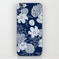 Sketchy Floral: Navy Ton… iPhone & iPod Skin