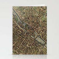 Old Paris Map and other manuscripts Stationery Cards