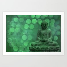 buddha light green II Art Print