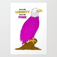 PINK LIBERTY EAGLE Art Print