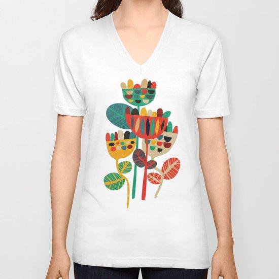 Wild Flowers V-neck T-shirt