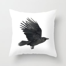 Flying crow Throw Pillow
