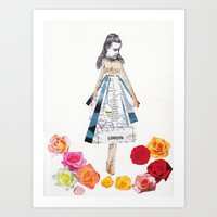 Lost by some roses Art Print