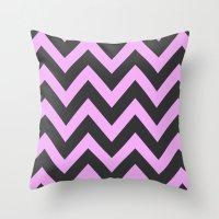 Pink & Charcoal Chevron Throw Pillow