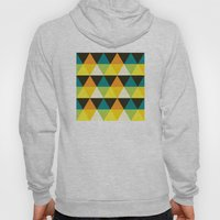 Teal, mustard, black & yellow triangles Hoody