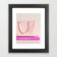 Fashion books and pink bag Framed Art Print