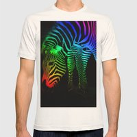 Rainbow Zebra Mens Fitted Tee Natural SMALL