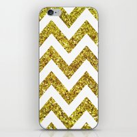 GOLD GLITTER CHEVRON iPhone & iPod Skin