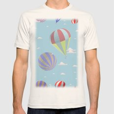 pattern of balloons against the blue sky with clouds Mens Fitted Tee Natural SMALL