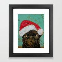 Santa Pug Framed Art Print