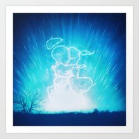 Cosmo + Celeste ( Colorful Cosmological Night Sky Couple in Love ) Art Print