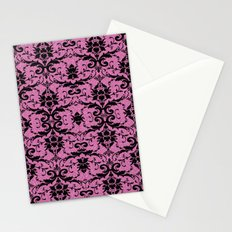 Black Damask and Pink Glitters Stationery Cards