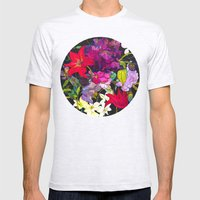 Black Parrot Tulips Mens Fitted Tee Ash Grey SMALL