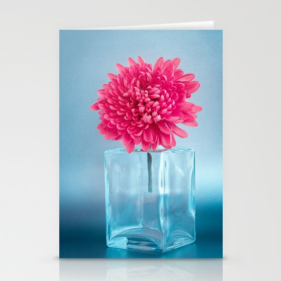 LE NOBLE - Pink flower in blue glass vase Stationery Card