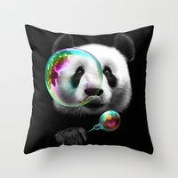 PANDA BUBLEMAKER Throw Pillow