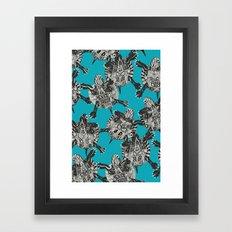 turtle party surf blue Framed Art Print