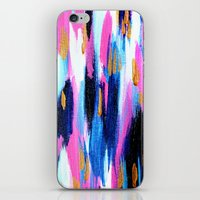 Spring Golden - Pink and Navy Abstract iPhone & iPod Skin