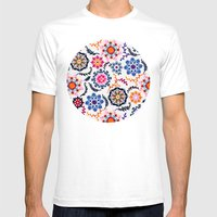 Happy Color Suzani Inspired Pattern Mens Fitted Tee White SMALL