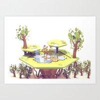 Hexagon Garden Art Print