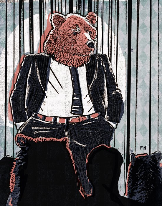 Bear Political Leader Addresses Clothes Controversy Art Print