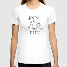 Join or Die Womens Fitted Tee White SMALL