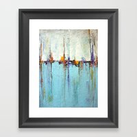 Abstract White And Blue … Framed Art Print