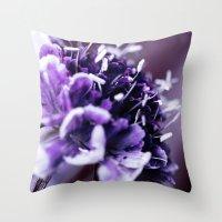 Purple Scabious Macro Throw Pillow