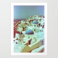 Santorini In Raspberry A… Art Print