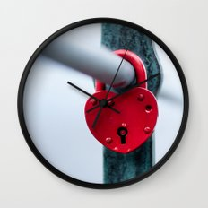 Red Heart Lock Wall Clock