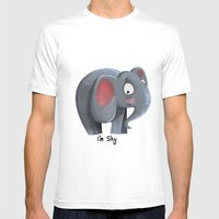 Elly The Shy Elephant Mens Fitted Tee White SMALL