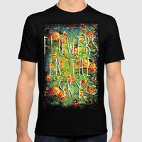 Flowers in the Sky Mens Fitted Tee Black SMALL