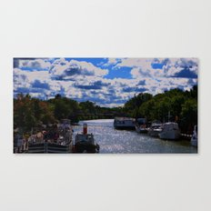 living on the canal Canvas Print