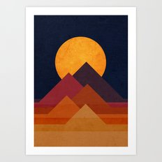 Full moon and pyramid Art Print