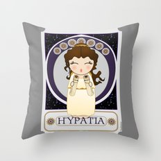Kokeshi Philosopher Hypatia of Alexandria (Agora) Throw Pillow
