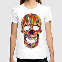 skull T-shirts featuring Chromatic Skull by John Filipe