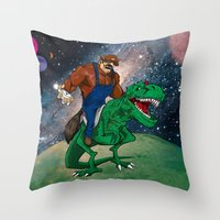 Raccoon Dino Rider.... Throw Pillow
