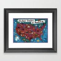 Map of USA Framed Art Print