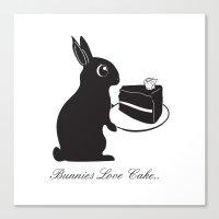 Bunnies Love Cake Canvas Print