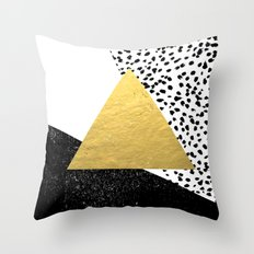 Rexa - gold abstract minimal tribal glitter triangle geometric art cell phone case brooklyn austin  Throw Pillow