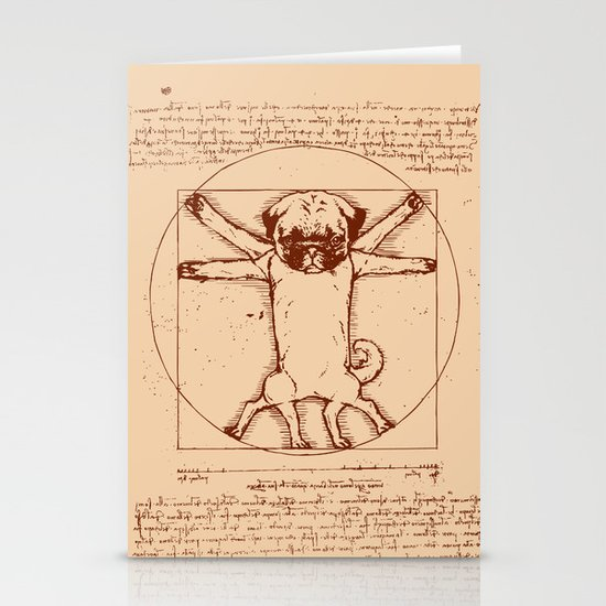 Vitruvian pug Stationery Card