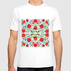 Hungarian Kalocsa 1 Mens Fitted Tee White SMALL