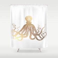 Gold Octopus  Shower Curtain