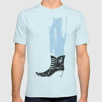 the boot goes on Mens Fitted Tee Light Blue SMALL