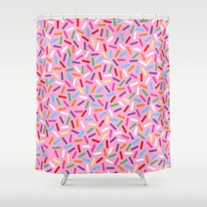Pink Donut with Sprinkles Shower Curtain
