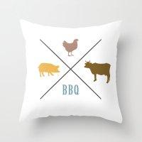 BBQ Hipster Logo Throw Pillow