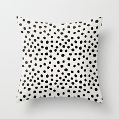 Preppy brushstroke free polka dots black and white spots dots dalmation animal spots design minimal Throw Pillow